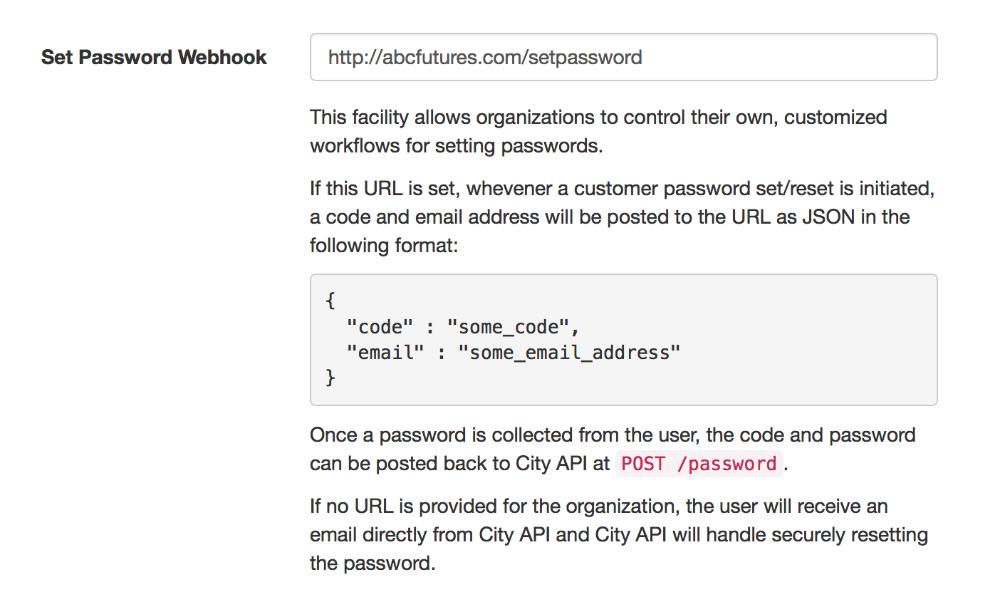 Password Webhook Settings
