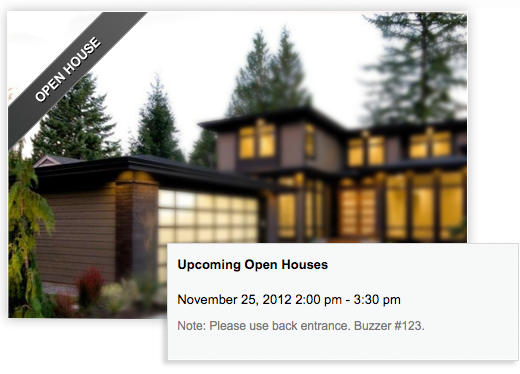 Open House Functionality for Real Estate Agent websites
