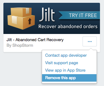 remove Jilt from Shopify