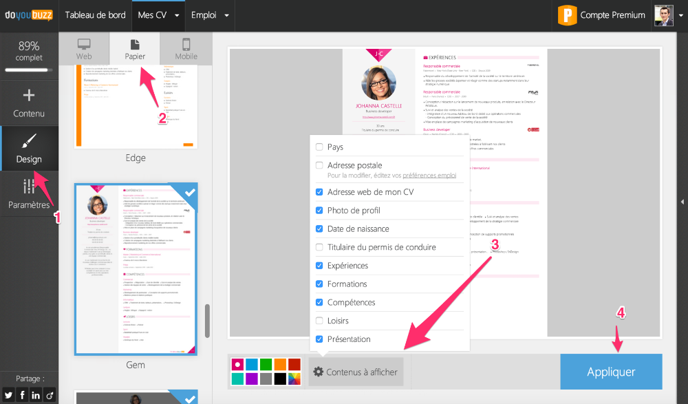 to select your resume then go to the design menu choose your design and click on content to display at the bottom of the page as shown on the image
