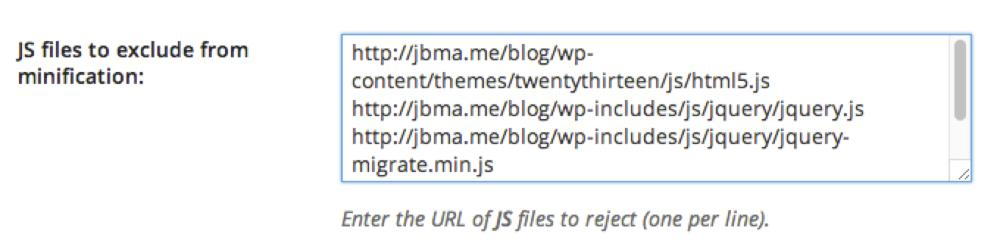 WP Rocket options field for excluding URLs from minification