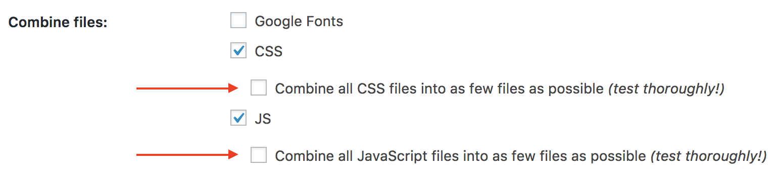 "Uncehcked option ""Combine all CSS/JS files into as few files as possible"""
