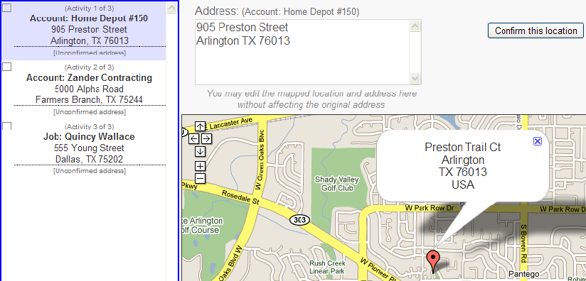 Confirm Each Address By Clicking Confirm This Location When All