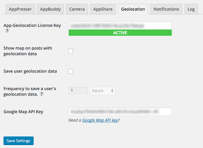 App-Geolocation settings page screenshot