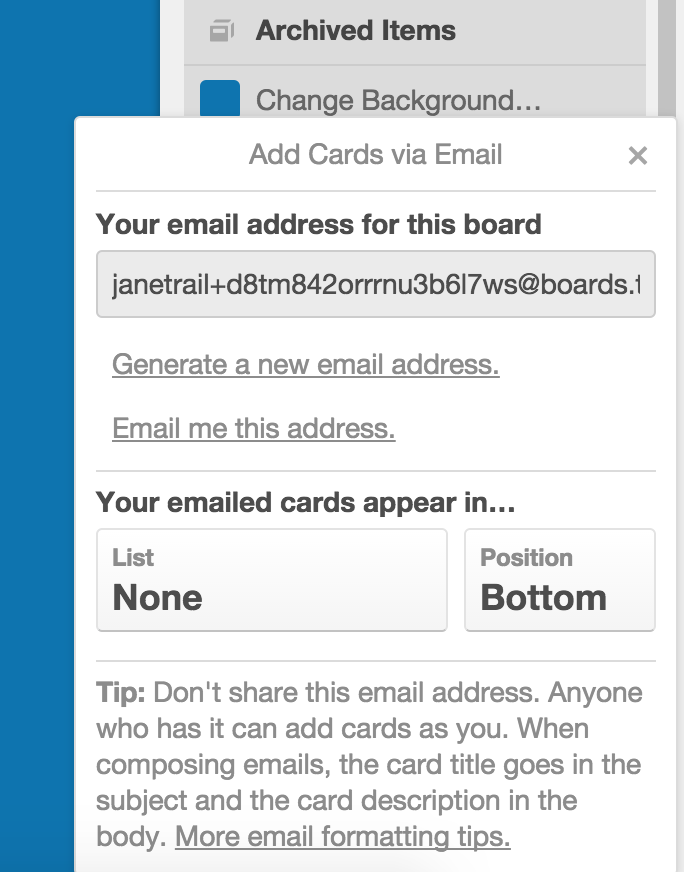 creating cards by email trello help
