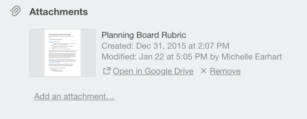 attached files will look like attached files uploaded directly to trello with the option to open those files in drive