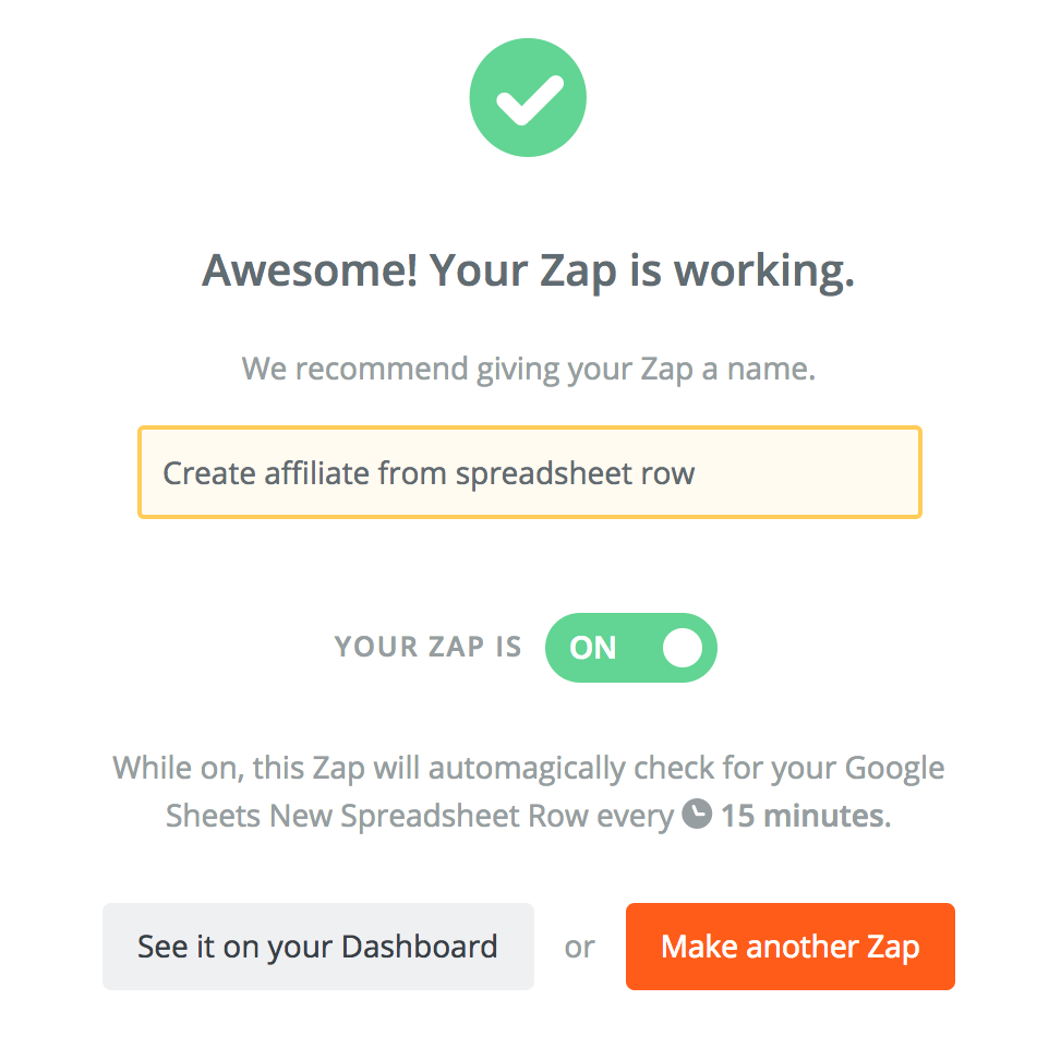 Screenshot of a Zapier zap being activated.