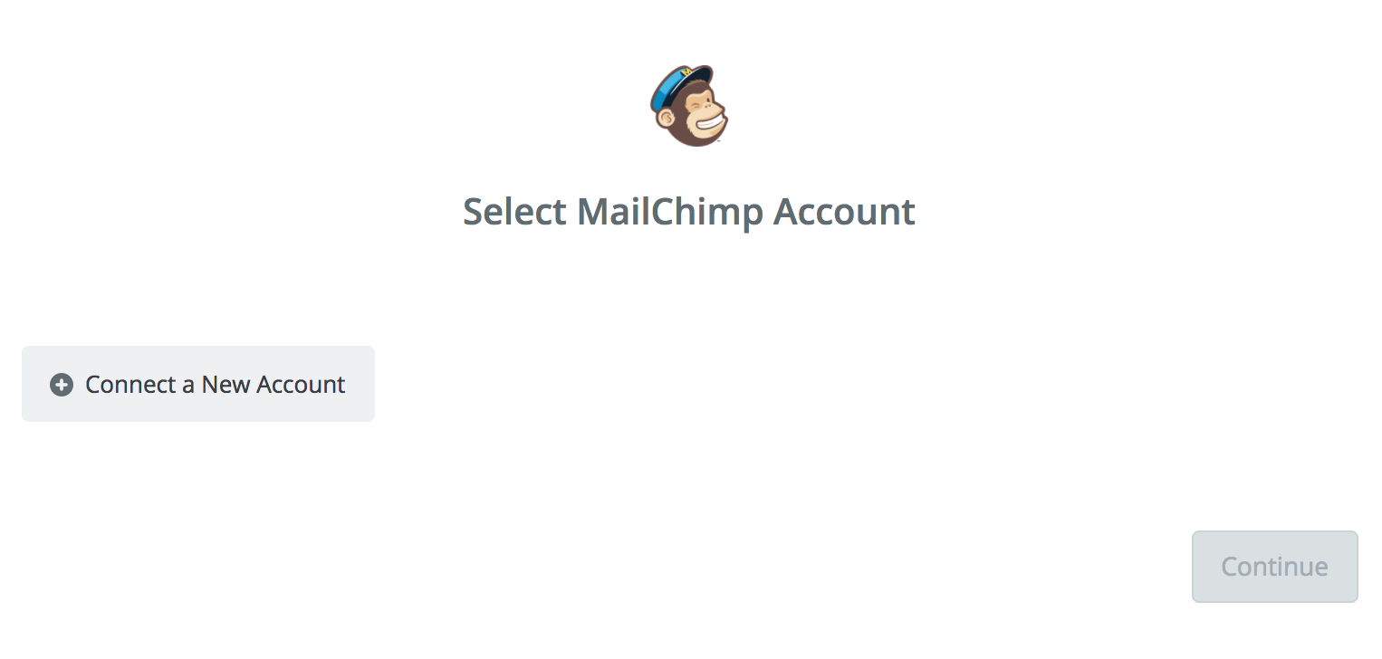Connecting your Mailchimp account to your Zapier account, step 1.