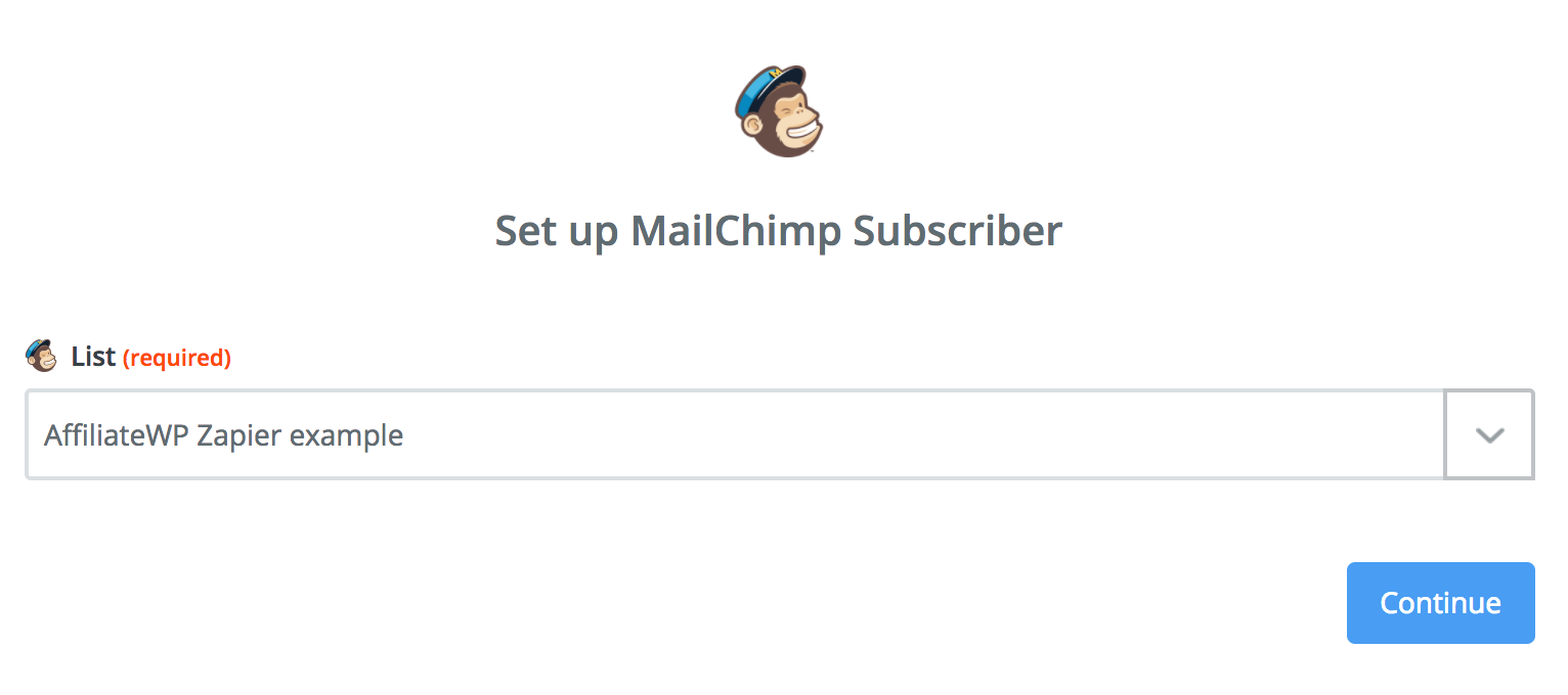 Selecting a Mailchimp list within Zapier.