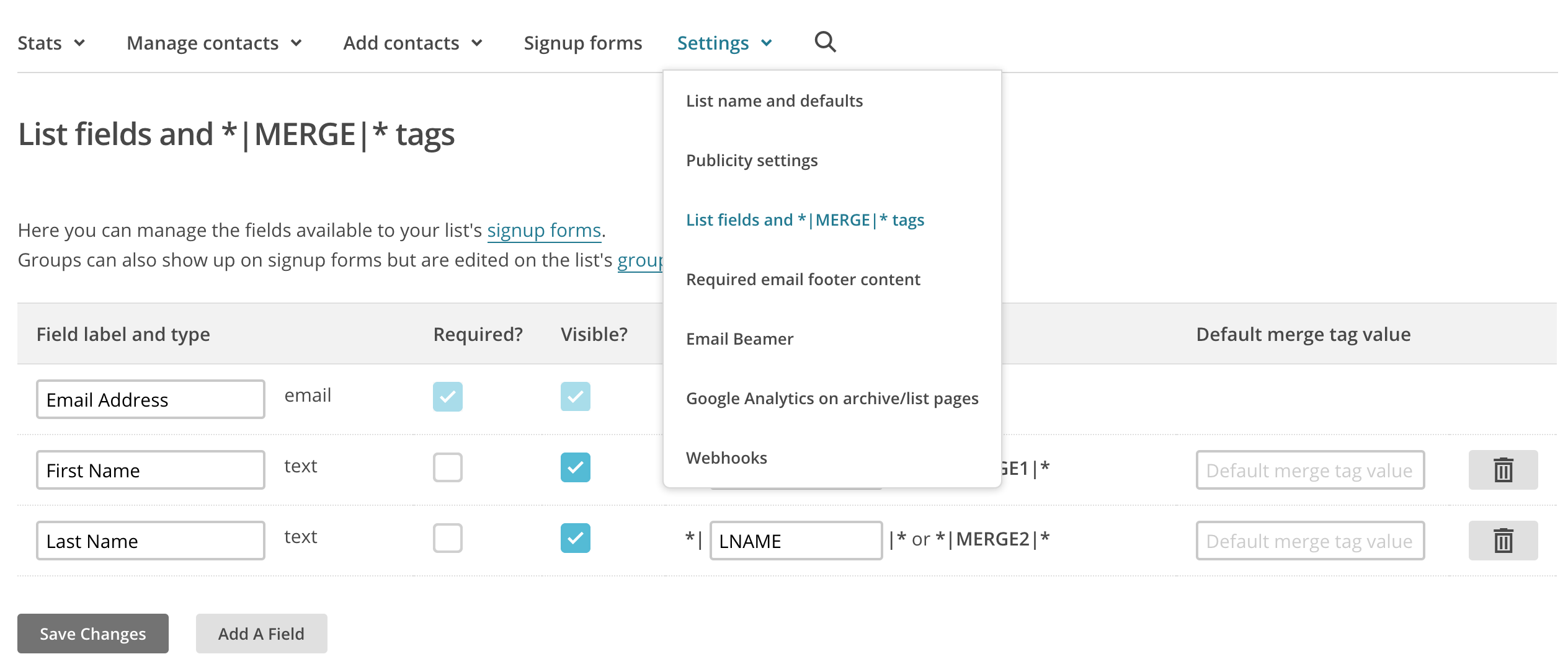 Creating custom fields in Mailchimp. Context: AffiliateWP Zapier trigger and action creation.