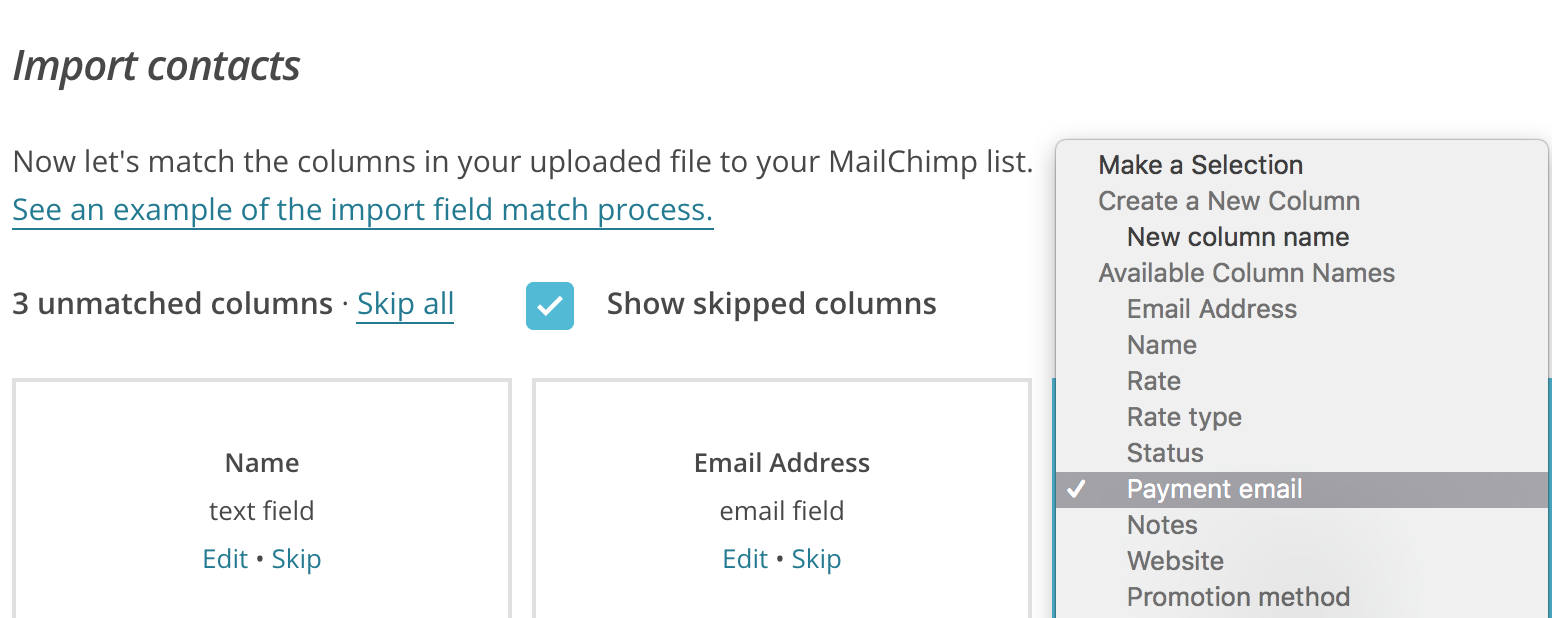 Custom field usage in Mailchimp.