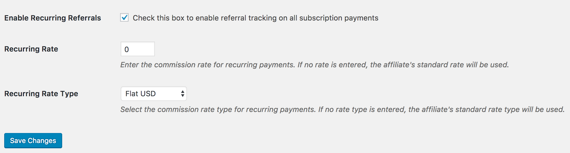 The recurring rate in Recurring Referrals add-on.