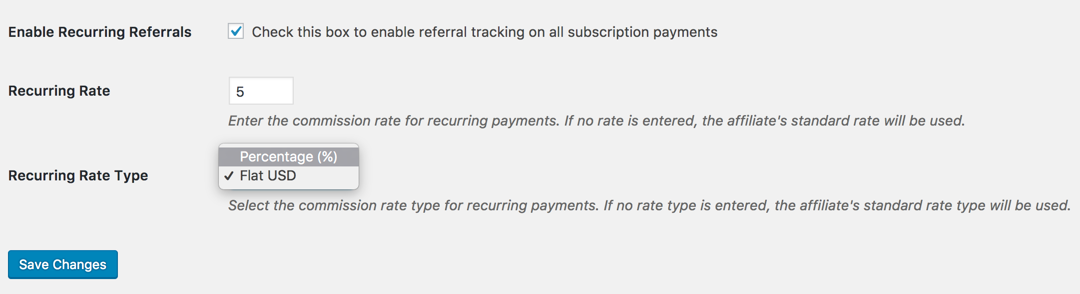 Setting the recurring rate type in the Recurring Referrals add-on.