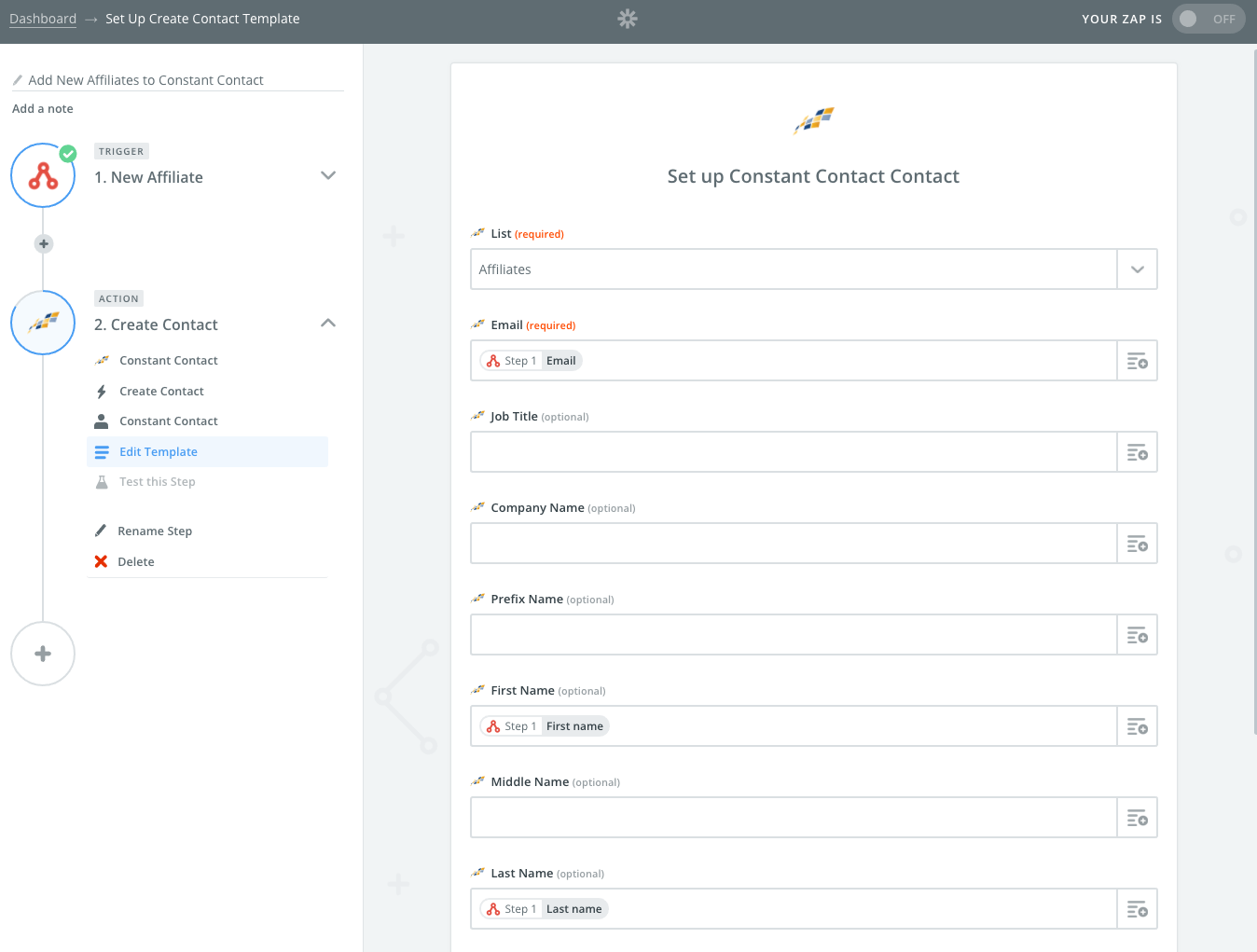 zapier recipe constant contact affiliatewp set up your constant contact account and an email address we also populated the first and last fields in our example