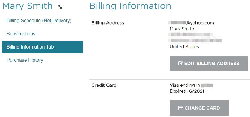 Recharge Billing Information