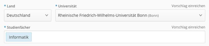 2 land und universitt auswhlen whle erst das land aus in dem du studierst wenn du in deutschland studierst klicke danach in die eingabespalte