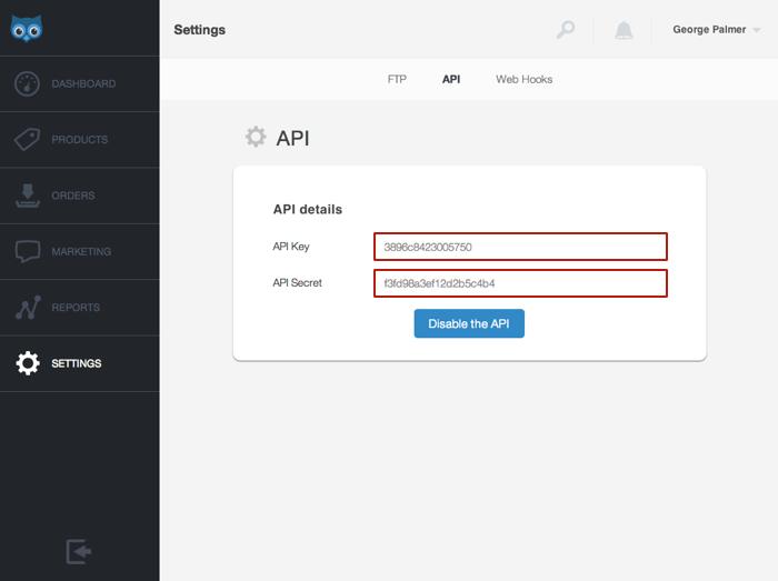 Get your API credentials on SendOwl