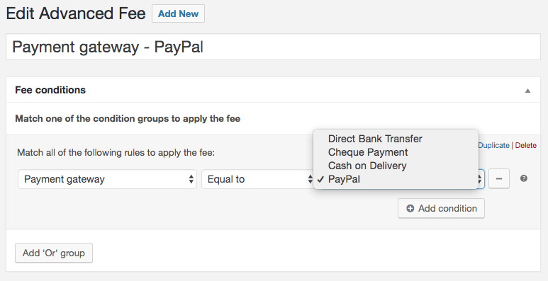 Payment gateway based fee example