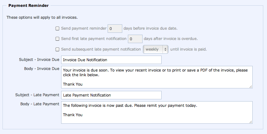 sending payment reminders - working point knowledge base, Invoice templates