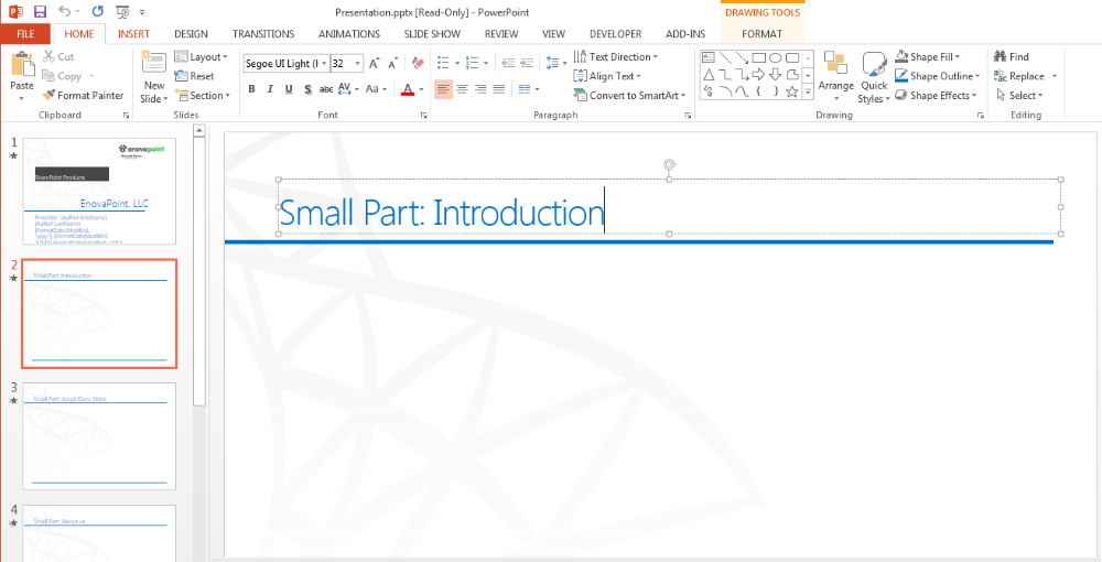 Jungledocs for office 365 how to merge several powerpoint files note you should only use the title text box click to add title in the powerpoint template for your small parts configuration toneelgroepblik Gallery
