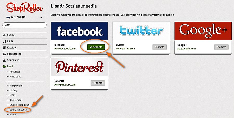 E-poe turundus: kuidas lisada Facebook, Twitter, Pinterest, Google+