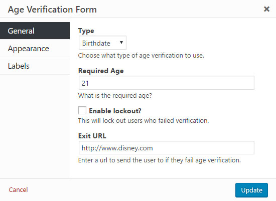Age Verification Form General Features And Settings  Popup Maker