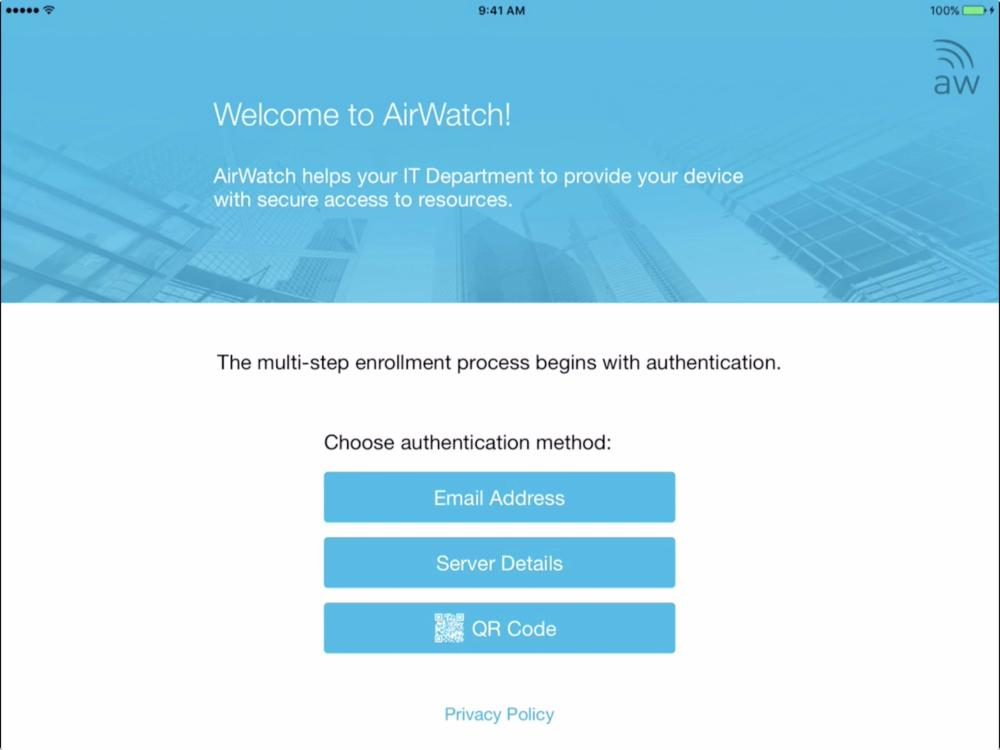 Ios airwatch enrolling an ios device in the corporate owned in the vmware testdrive airwatch instance we only support enrollment through the email address method click on email address to continue yadclub Gallery