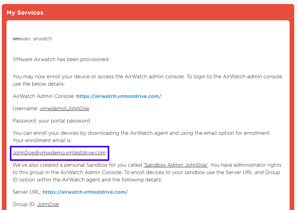 Office 365 and vmware boxer walkthrough vmware testdrive support you can verify the email by logging in at portalvmtestdrive clicking the my services card and choosing the info button next to airwatch yadclub Gallery