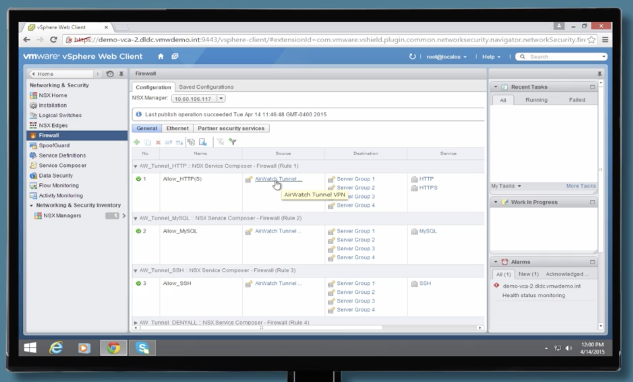 Vmwares digital workspace demo walkthrough vmware testdrive support switching over to a different view we can see the service composer we have grouped together our server objects and the airwatch tunnel vpn so that we can yadclub Gallery