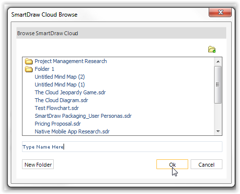 from here you may choose a specific folder to save the file to or you may save it to cloud without placing it into a folder type the file name then click - Smartdraw For Windows