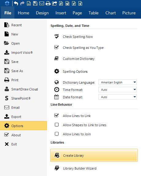 a new dialog window will appear in the forefront of your screen type the name of your custom library and select or create a category for the library - Smartdraw For Windows