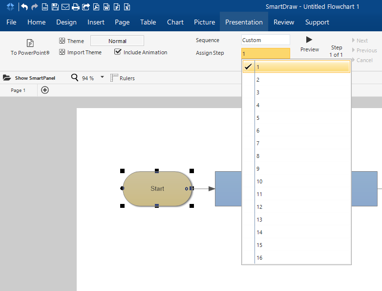 continue adding sequencing to all objects within your document then click preview to see your customized sequencing - Smartdraw For Windows