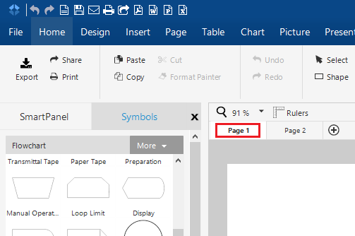 to print pages of a multi page document in smartdraw for windows first select the page that you would like to print from the page tabs at the top of your - Smartdraw For Windows