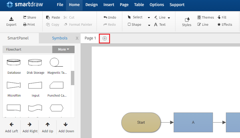 choose your desired page type from the drop down menu select from new page new page from template duplicate page or add existing document - Smartdraw Support