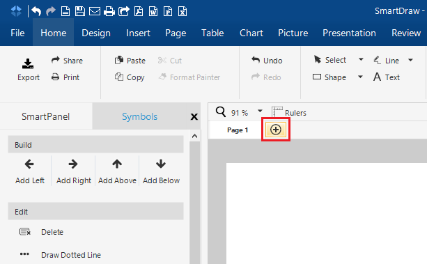 insert a page in a file in smartdraw for windows smartdraw software knowledge base - Review Smartdraw
