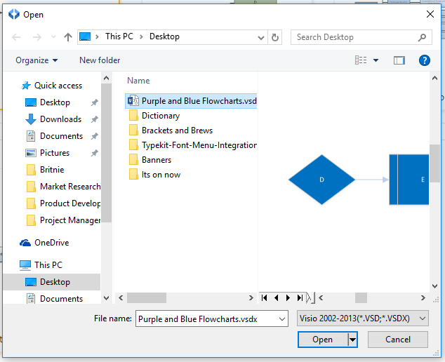 select the visio file that is saved to your device from the open dialog window click open - Smartdraw For Windows