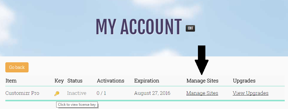 all you need to do is connect to your account and manage the activated websites attached to your key