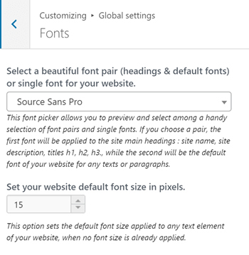 Fonts settings