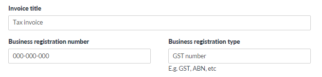 Business registration type and number