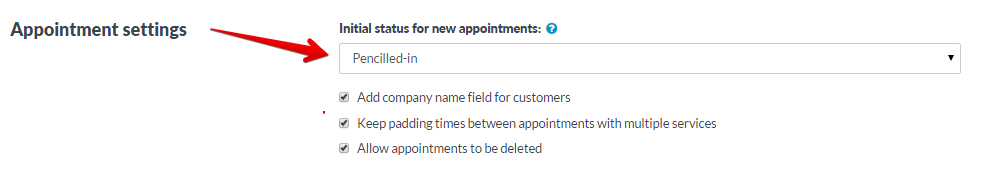 Initial status for new appointments