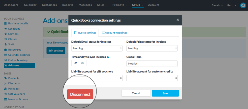 QuickBooks settings