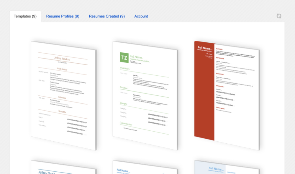 choose a resume template by clicking an image from the templates tab