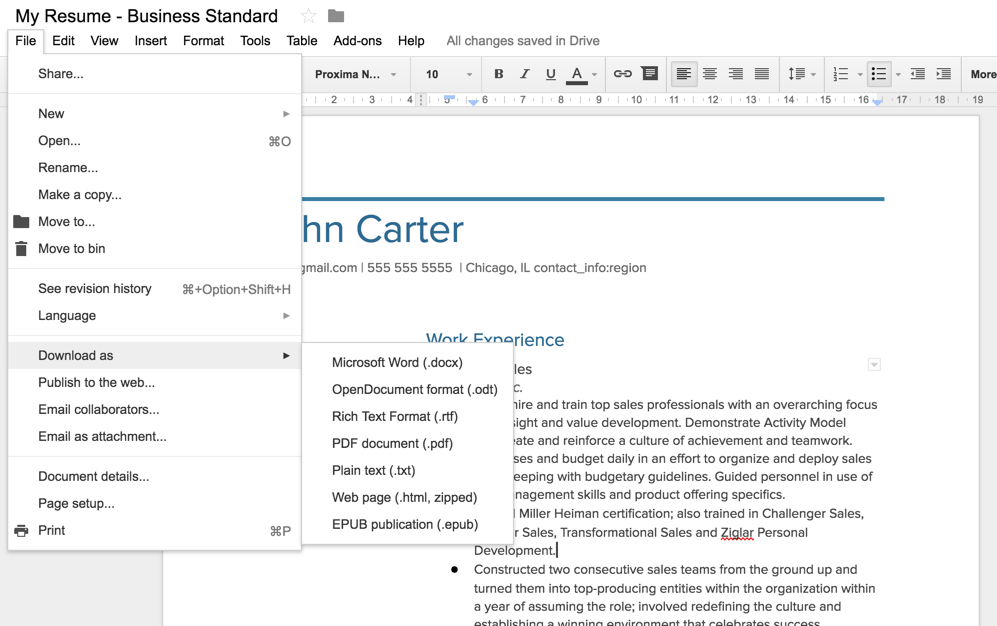 exporting your visualcv to google docs word visualcv knowledge