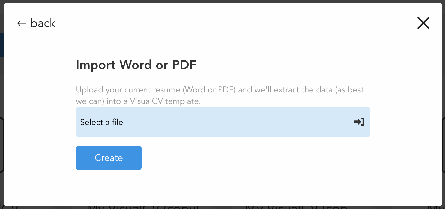 how do i import an existing resume visualcv knowledge base click select a file to upload from your computer then click create the document will then be parsed and a resume content from the document will be