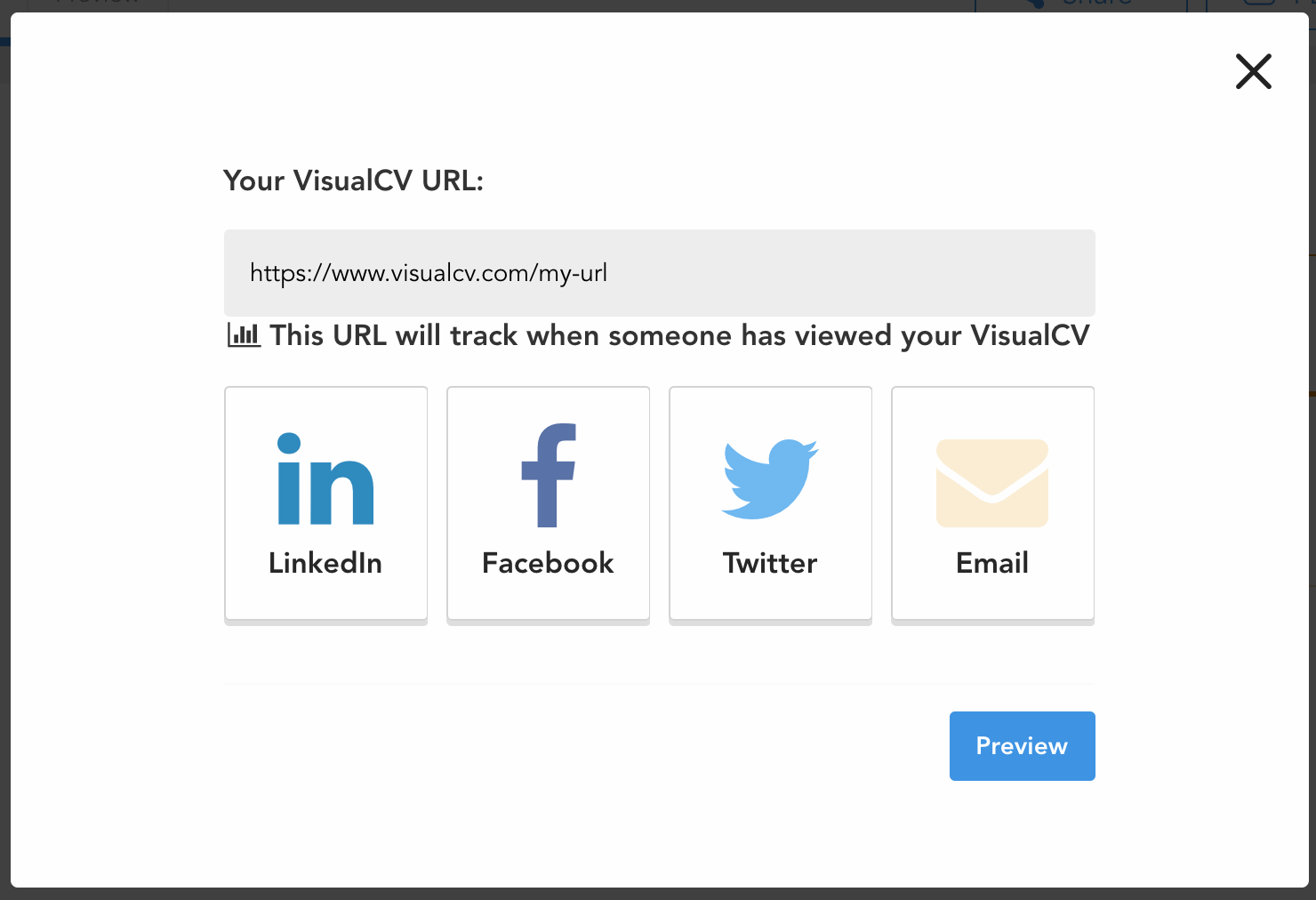 how do i share my resume visualcv knowledge base this pop up contains buttons that will allow you to share your resume s url directly social media or email you can also simply copy the url yourself