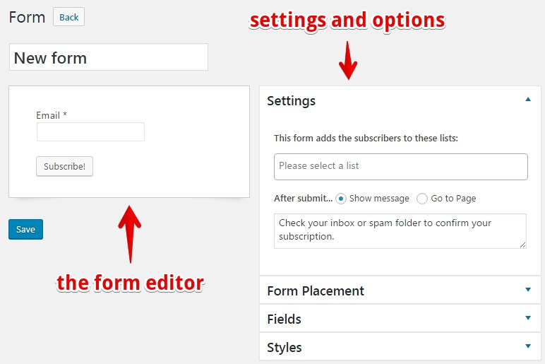 How To Create a Subscription Form - Docs for MailPoet version 3