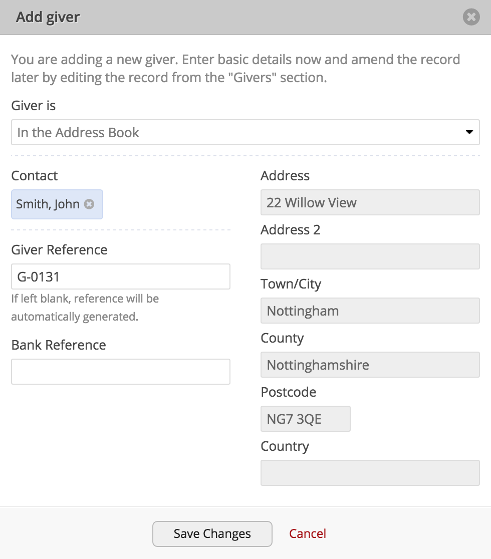 Adding or importing donations churchsuite support articles select the giver is drop down and change to giver is not in the address book this will allow you to create a new giver profile that is not going negle Image collections