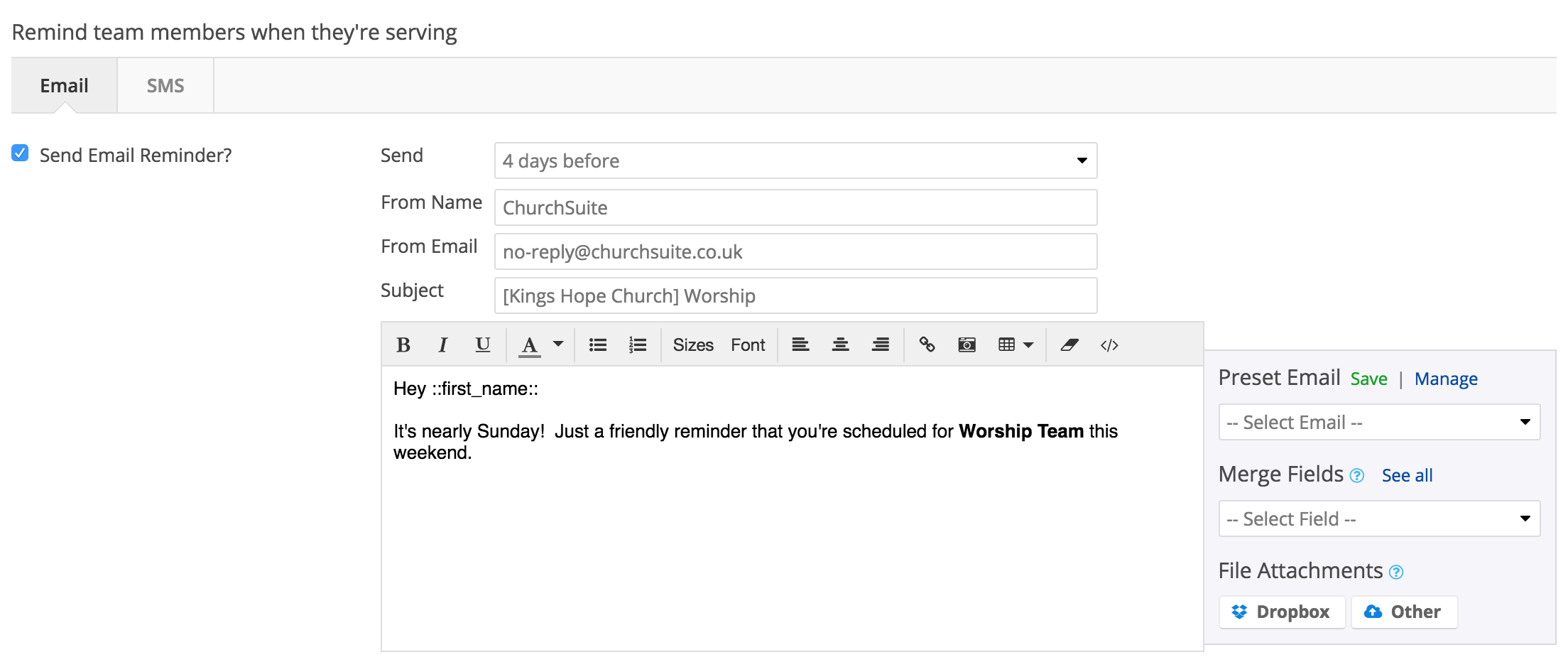friendly reminder email