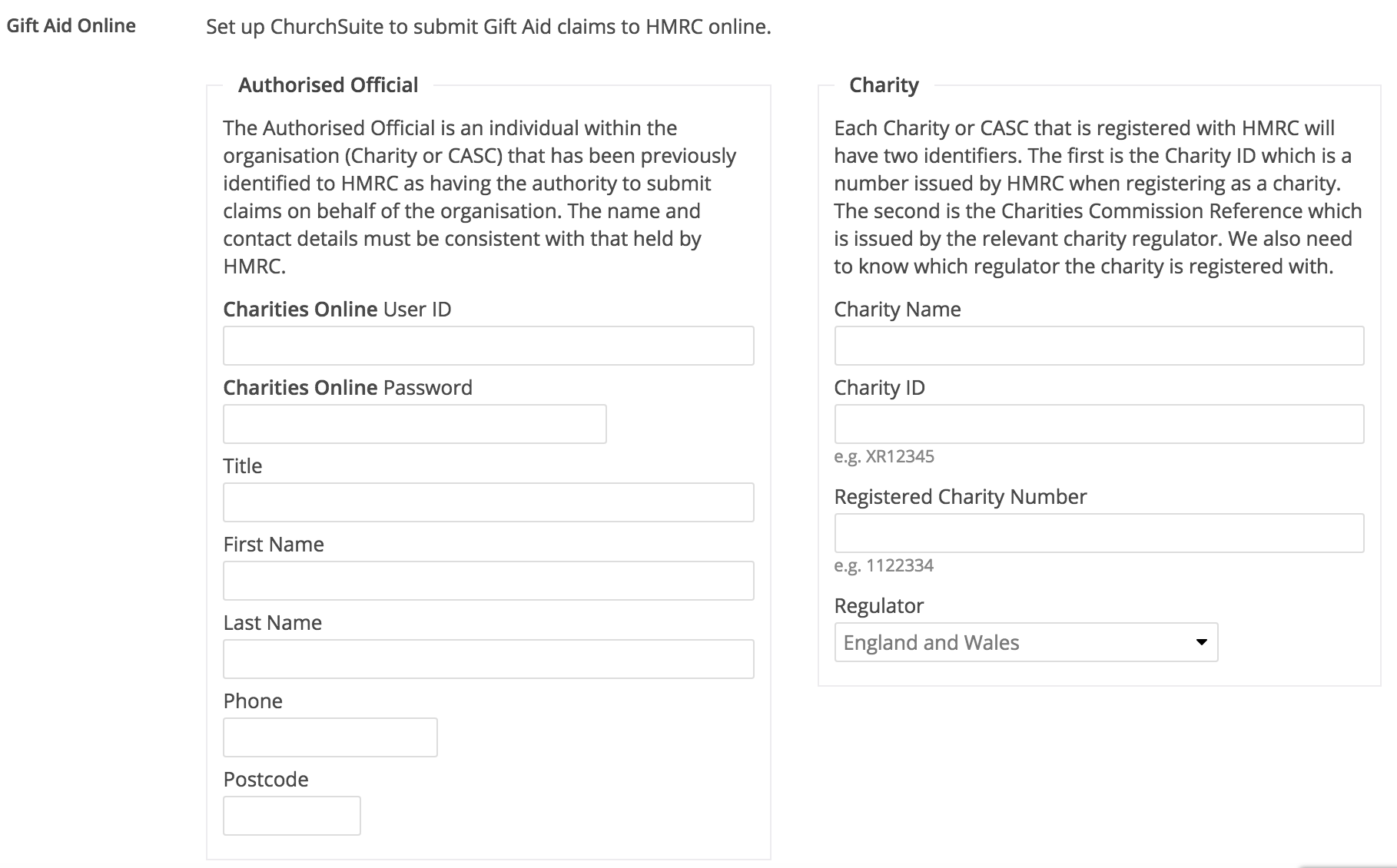 Reclaiming gift aid through churchsuite uk only churchsuite in the right box especially the charities online user id not to be confused with the charity id and the charity number 3 different things negle Image collections