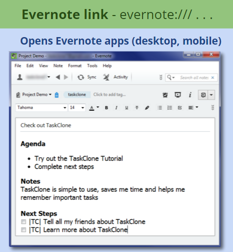 Evernote links